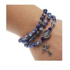 rosary bracelet blue lapis rosary wrap bracelet the catholic company