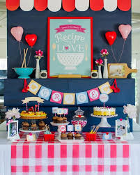 retro kitchen bridal shower with lots of really ideas via