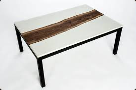 concrete and wood coffee table concrete pete concrete and live edge walnut table