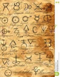 free halloween background paper mystic background with alchemic signs on grunge paper stock