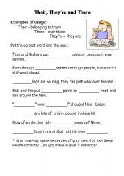 worksheet their there and they re