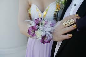 White Wrist Corsage Purple Alstroemeria Wrist Corsage