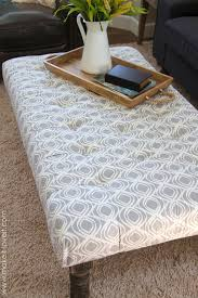 padded coffee table cover diy tufted fabric ottoman from an old table make it and love it