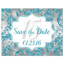save the date designs quinceañera save the date card winter turquoise