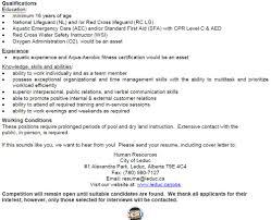 Resume For Lifeguard Resume For Lifeguard