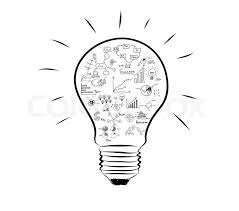 light bulb with drawing graph inside stock photo colourbox