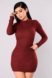 side sweater dress burgundy