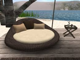 Sofa Round Second Life Marketplace Rattan Wicker Set Sofa Round Daybed