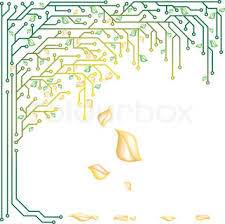 electronic tree of stencil vector illustration stock vector