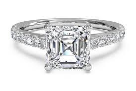 set ring asscher cut set diamond band engagement ring in 18kt white