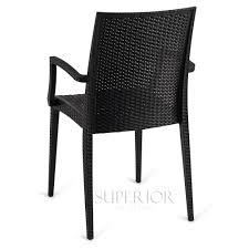 Stackable Plastic Patio Chairs by Wicker Look Outdoor Stackable Plastic Chair With Arms In Black