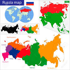 russia map after division administrative division of the russian federation royalty free