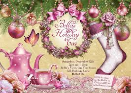 victorian christmas tea party invitation holiday tea party