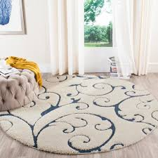 Round Throw Rugs by Safavieh Florida Shag Cream Blue 6 Ft 7 In X 6 Ft 7 In Round