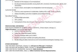 Resume Samples For Flight Attendant Position by Airline Flight Attendant Resumes Reentrycorps
