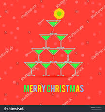 martini christmas martini glasses christmas tree christmas card stock vector
