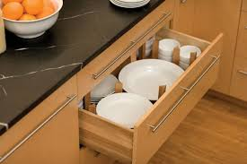 plate organizer for cabinet dish storage drawer below the cabinet for stacks of plates and bowls