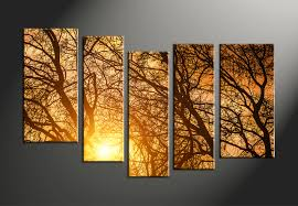Forest Home Decor by 5 Piece Yellow Sunrise Scenery Canvas Wall Art