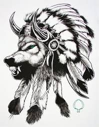 indian wolf with feather headdress design tribal