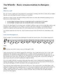 tin whistle basic ornamentation techniques violin musicology
