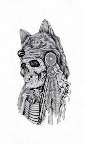 skeleton wearing wolf headdress illustration price minty