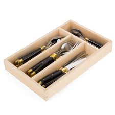 laguiole debutante black w brass cutlery set 24pce peter u0027s of