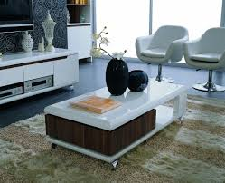 furniture wooden coffee table with storage white fur rug black