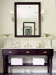 vintage bathroom furnishings designs using dark brown wooden