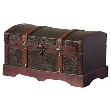 three posts mcdonald leather wooden chest reviews wayfair