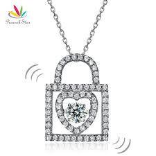 lock pendant necklace images Peacock star heart lock dancing stone pendant necklace solid 925 jpg