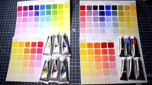 making color mixing charts for watercolors and gouche with primary