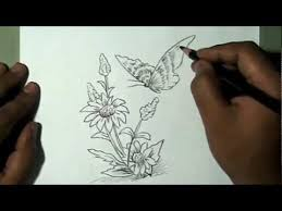 how to draw beautiful flower and butterfly yzarts yzarts youtube