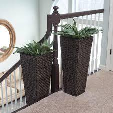 brown resin wicker floor vase planters