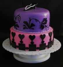 fondant pink and purple 2 tier birthday cake with shoe liberty ky