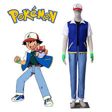 Ash Ketchum Halloween Costume Pokemon Ash Ketchum Cosplay Costume Short Sleeve Jacket Black