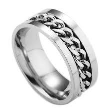 titanium chain rings images David kabel silver rotating fidget spinner ring black finger chain jpg