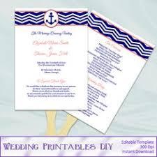 Paddle Fan Program Template Diy Wedding Fan Program Template Coral Program Fan Renay U0027s