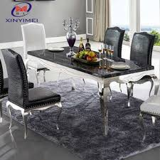 modern royal marble stainless steel dining table design for