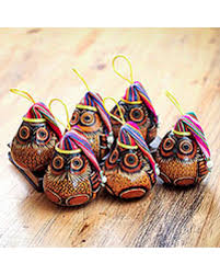 great deal on mate gourd ornaments owls set of 6 peru