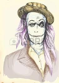 portrait of an undead zombie scary clown hand drawing royalty