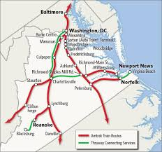 Map Of Charlottesville Va Thruway Bus Connections In Virginia Amtrak