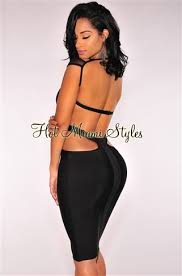 miami hot styles black cut out peep bandage dress