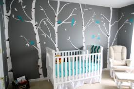 Grey Theme Grey Baby Room Wall Theme And White Tree Paint Plus White Wooden