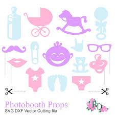 photo booth props baby shower party svg dxf png by easycutprintpd
