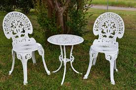 Garden Bistro Table White Garden Bistro Set Table And Two Chairs