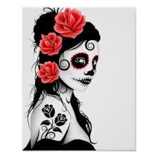 sugar skull tattoo posters zazzle