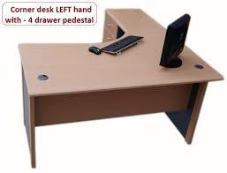 Corner Desk Beech 1 4 M Home Office Corner Desk Left With 4 Drawer Pedestal