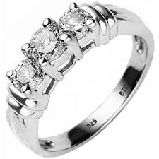925 sterling silver engagement rings 925 silver simulated diamonds cz 3 stones engagement ring