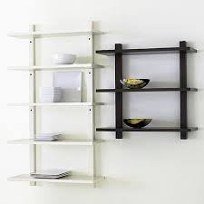 White And Wood Bookcase by Wall Mounted Wood Shelving Units