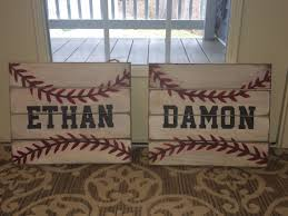 baseball signs i made for the nephews u0027 bedrooms pallet sign
